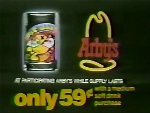 Arby's Restaurants Pac Man Glasses 1982 TV Commercial HD