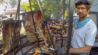 Argentina Street Food Huge Load of Asado and Mixed Meat on Grill