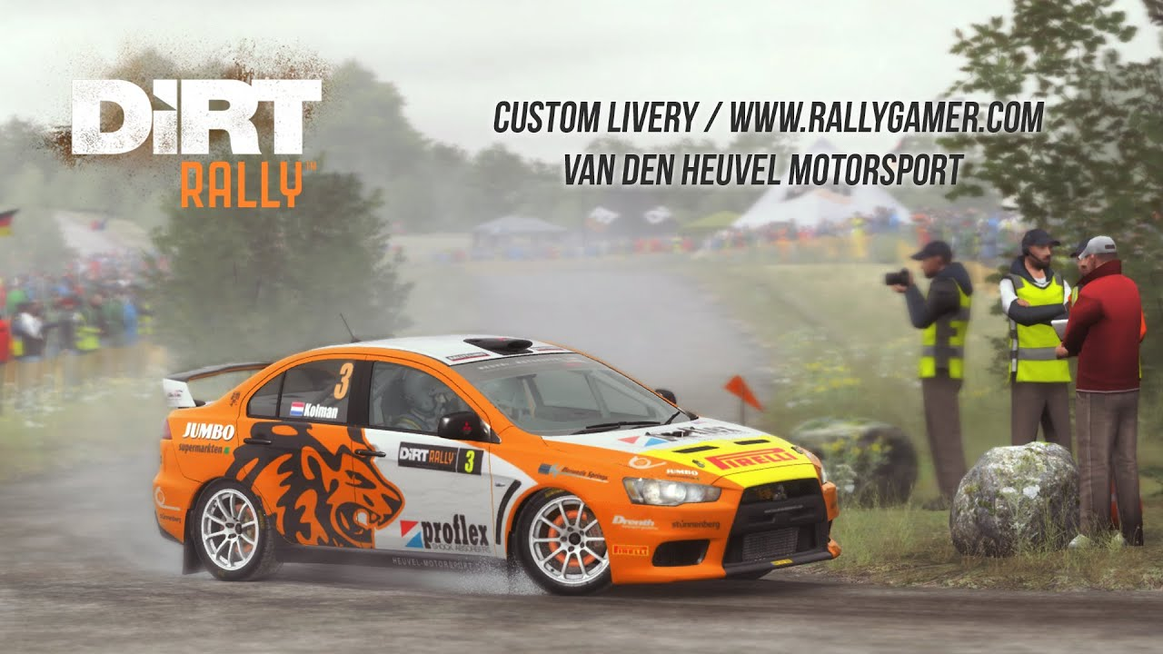 dirt rally mitsubishi evo x van den heuvel motorsport custom livery