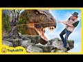 Giant T Rex Dinosaur Chases Park Ranger Who Rescues Dino Eggs with Nerf Toys