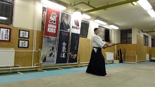 kihon tsuki zengo tatte- boken /sword [TUTORIAL] basic Aikido weapon technique 合気剣 合気剣