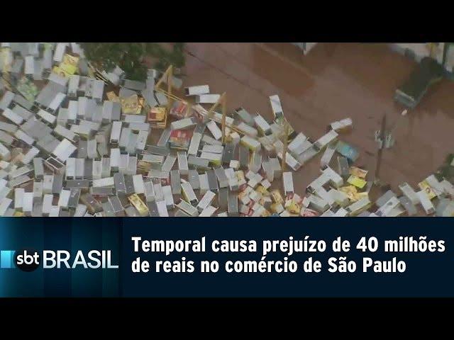Temporal causa prejuízo de 40 milhões de reais no comércio de São Paulo | SBT Brasil (11/03/19)
