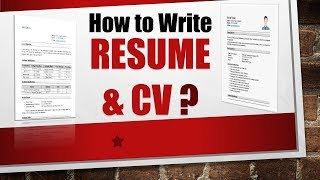How to write a RESUME and CV? | With Sample Resume Format