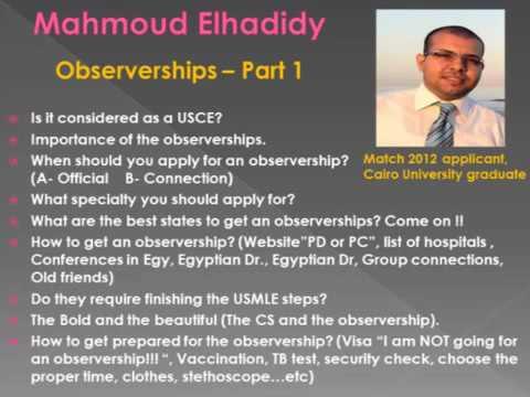 Mahmoud Elhadidy Observerships part 1   YouTube