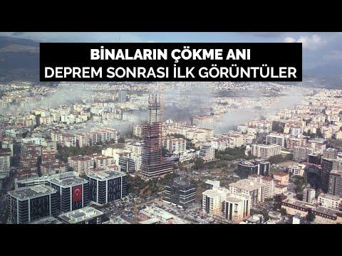 İzmir'deki depremde binaların çökme anı, deprem sonrası ilk görüntüler