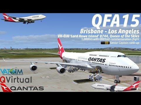 VATSIM FSX Brisbane to Los Angeles Qantas 15 PMDG 747-400