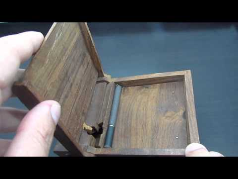 Vintage Old Wood Tobacco Dispenser Box Automatic Cigarette Case