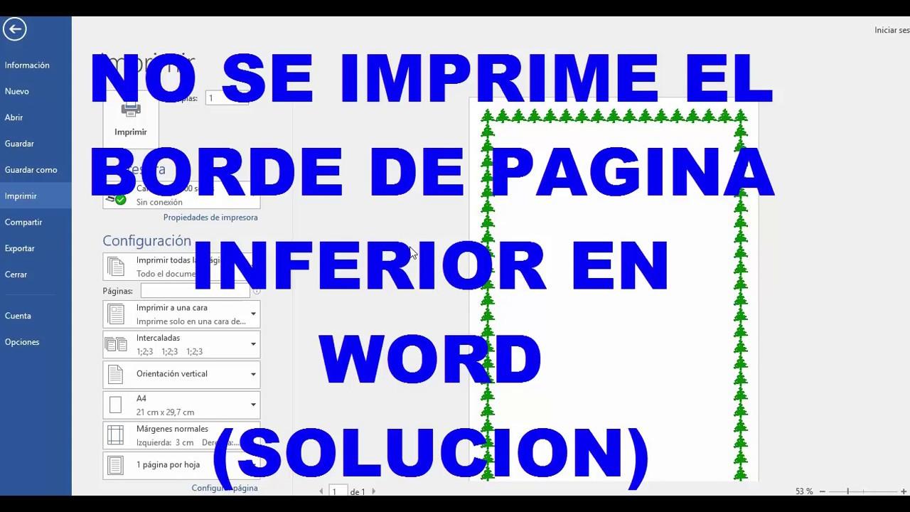 COMO IMPRIMIR BORDE DE PAGINA INFERIOR EN WORD - YouTube