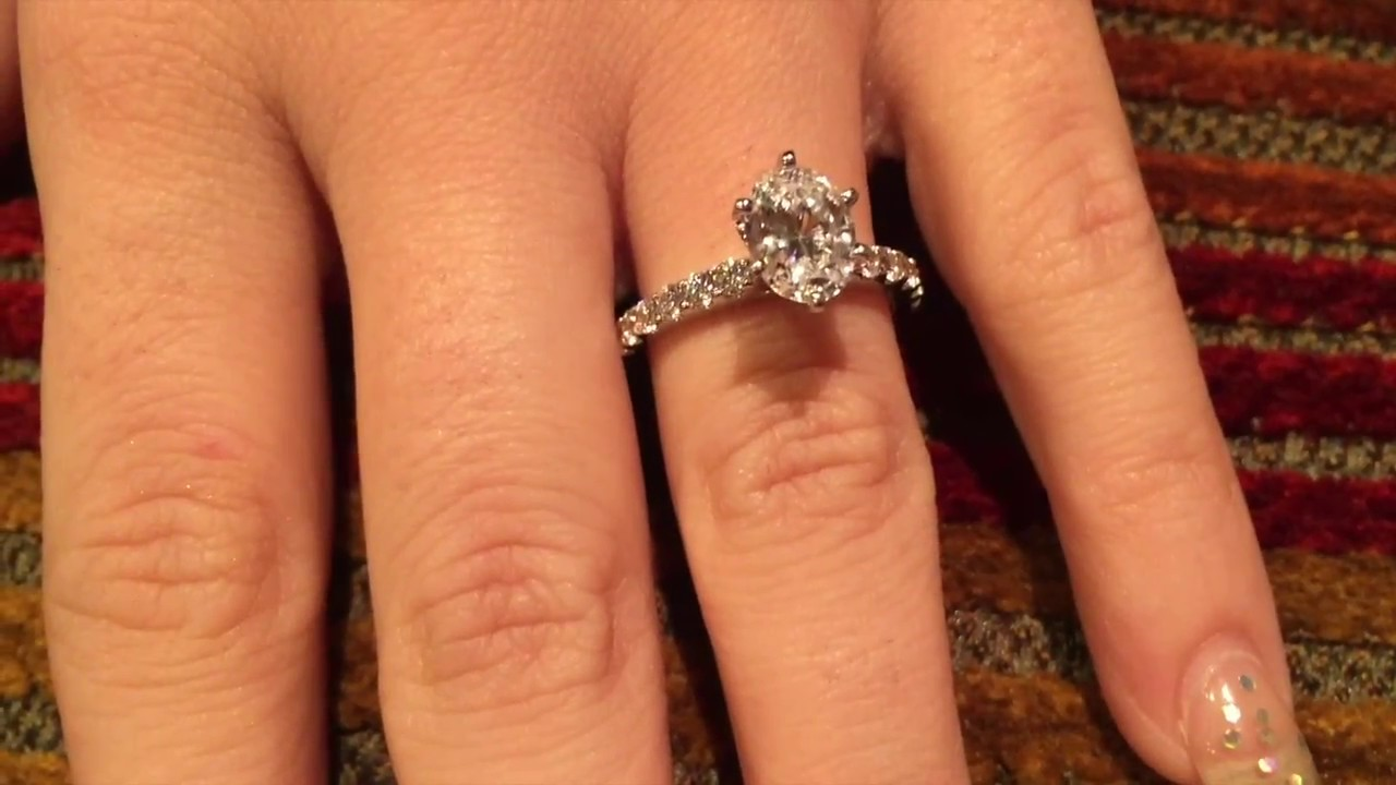 e7f4012be Oval Cubic Zirconia Tiffany Style White Gold 14K Engagement Ring ...