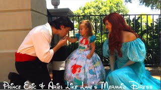 Prince Eric and Ariel admire Lane's Little Mermaid Dress made from Upcycled Materials