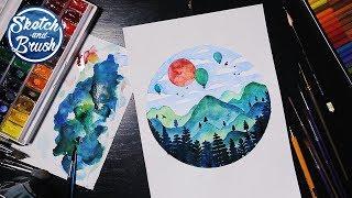 Уроки рисования: Как нарисовать горы. Рисуем пейзаж акварелью.