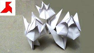 Как сделать объемный белый цветок тюльпана со стеблем из бумаги формата А4?(Видеоурок по технике модульного оригами, как своими руками сделать объемный тюльпан из 2-х листков белой..., 2016-05-24T14:52:38.000Z)