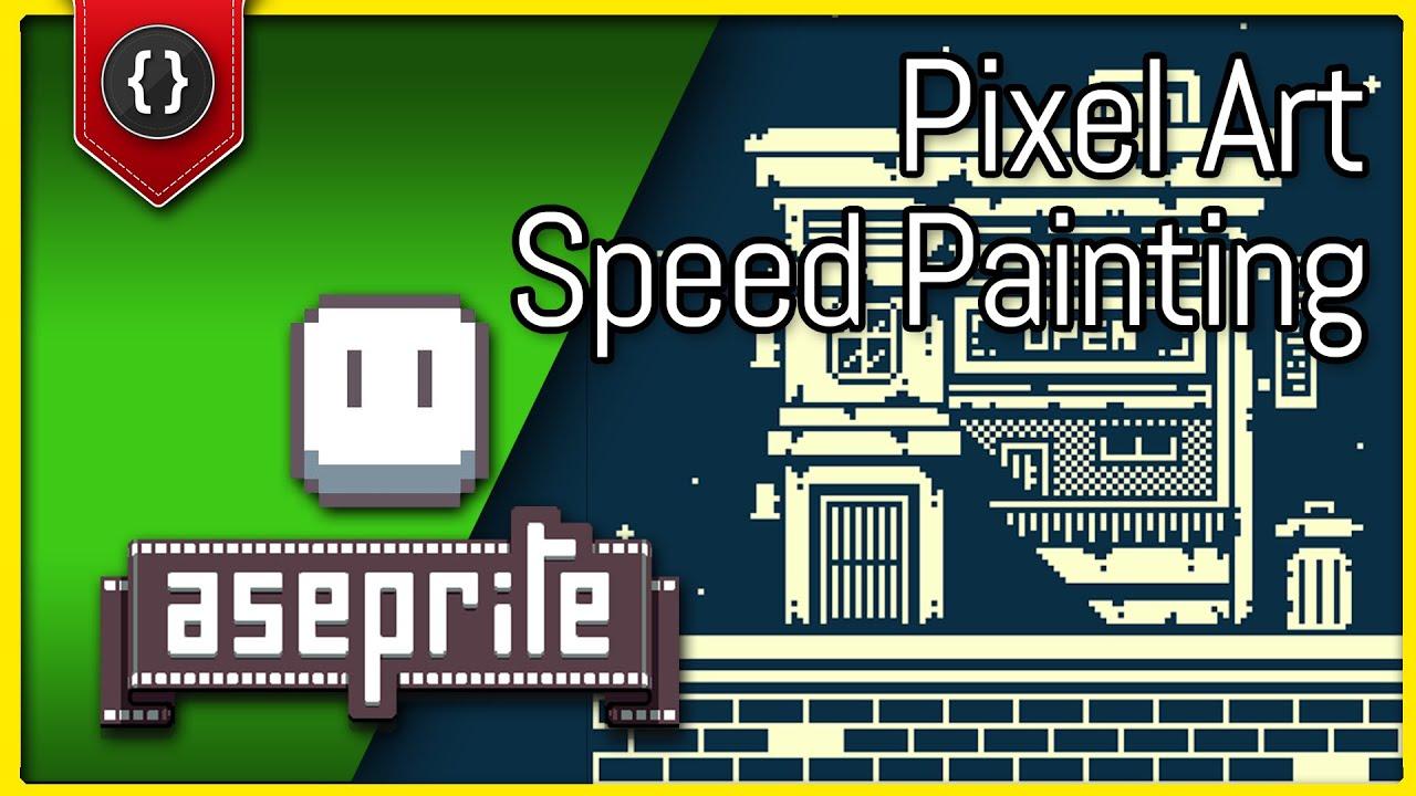 1-Bit Pixel Art Hotel [Aseprite Speed Painting]