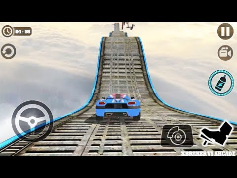 Impossible Stunt Car Tracks 3D: Blue Car Driving Stunts Levels 14 & 15 - Android GamePlay 2019