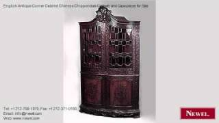 English Antique Corner Cabinet Chinese Chippendale Cabinets