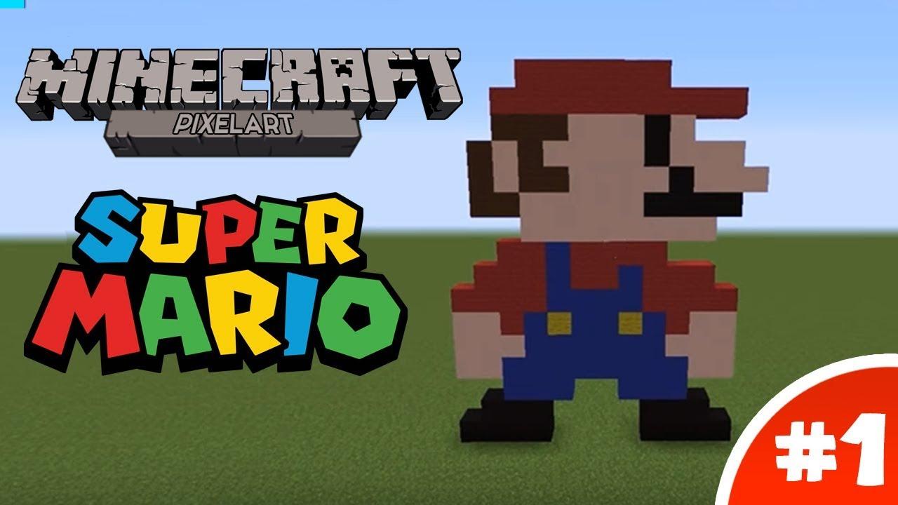 Minecraft Pixel Art Tutorial 8 Bit Mario Youtube