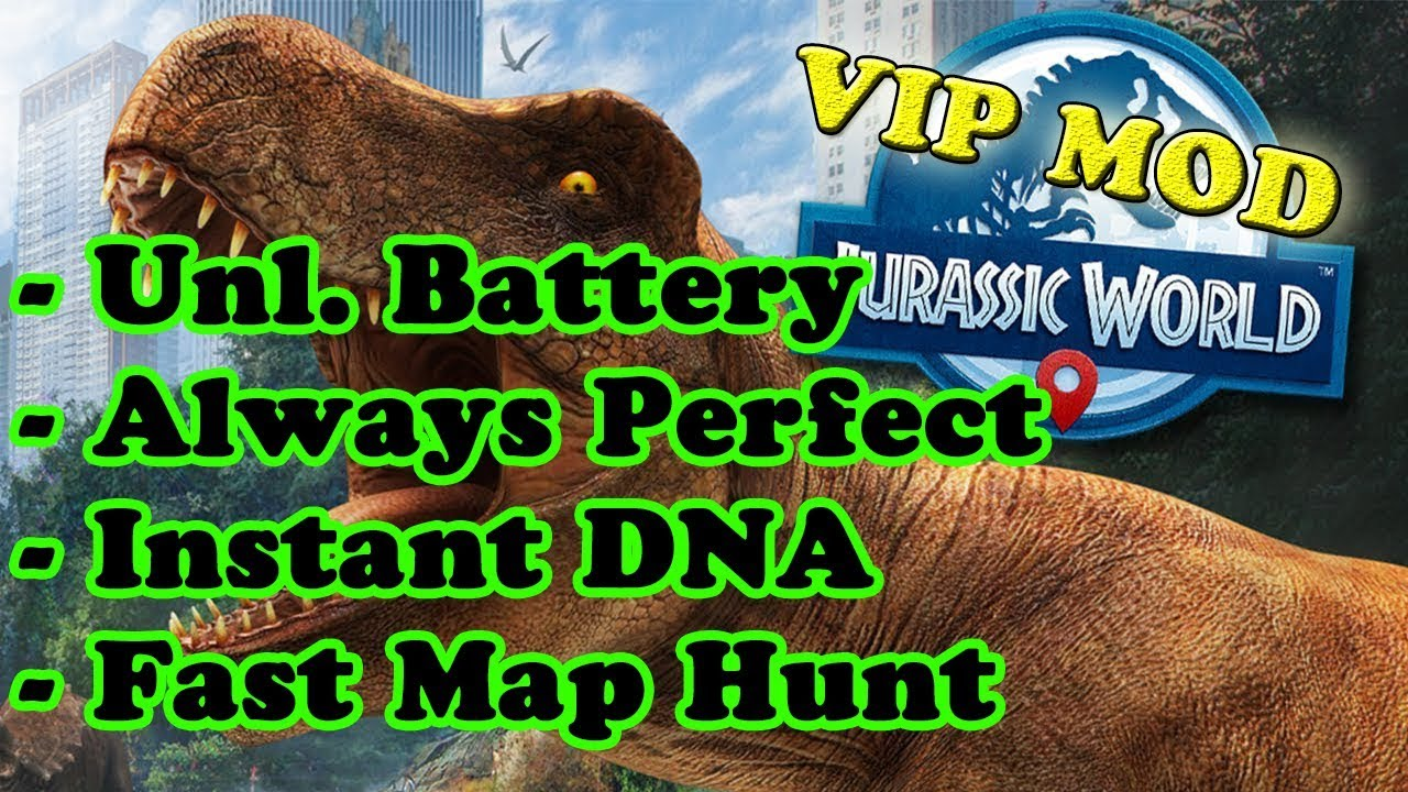 Jurassic World Alive Ver  1 8 39 MOD APK | Inf  Battery | VIP Enabled | Map  Hack | Always Perfect
