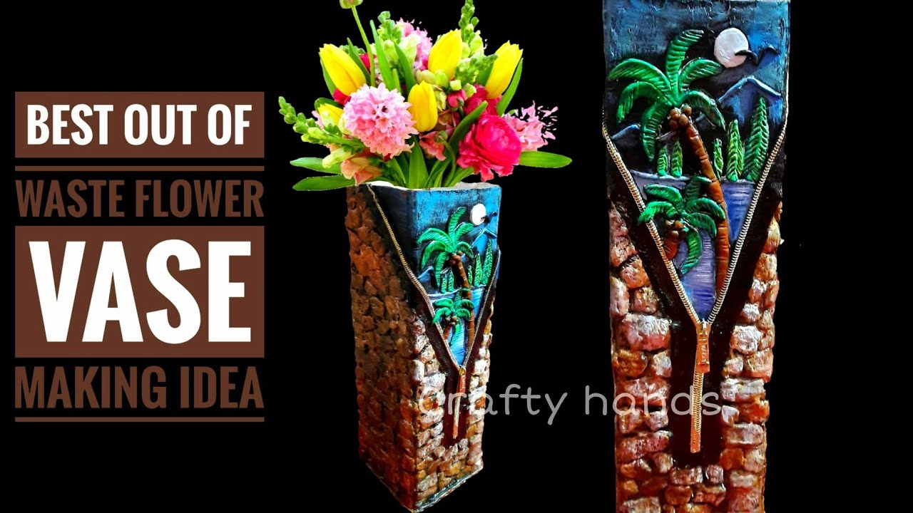 Diy Flower Vase Making Idea From Waste Cardboard Box Best Out Of Waste Craft Do It Yourself Youtube