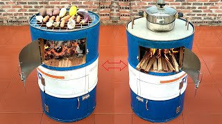 The idea of recycling non-iron barrels and cement into a multi-purpose grill
