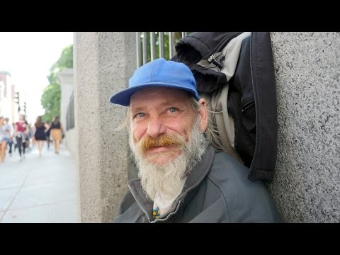 David is a homeless senior in Boston. He sleeps outside even in the winter.