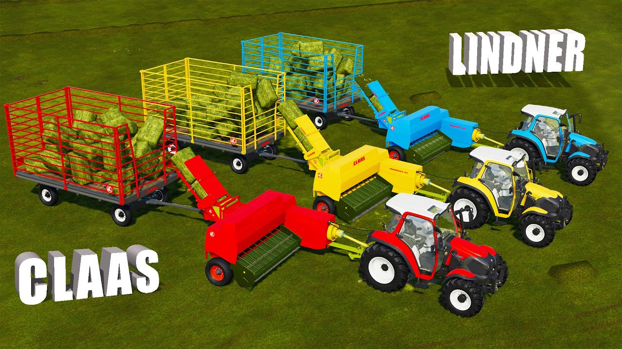 LAND OF MINI! BALING HAY WITH CLAAS BALERS and LINDLER TRACTORS! COLORFUL FARM |Farming Simulator 19