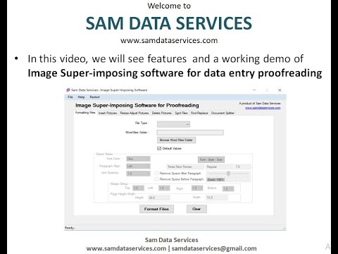 SAM DATA SERVICES : Image SuperImposing Software For Data Entry ProofReading