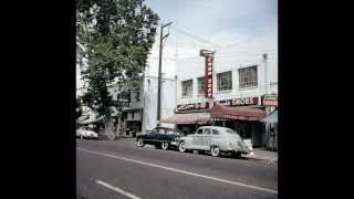 1950s Color photos of Sacramento California buildings, stores, houses and cars Time Capsule