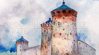 Watercolor speed painting - Olavinlinna Castle