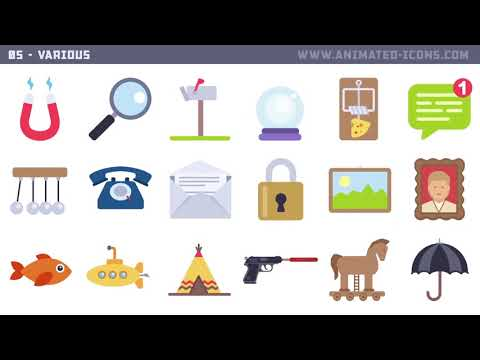 1000+ Flat Animated Icons Pack | After Effects Project Files - Videohive template