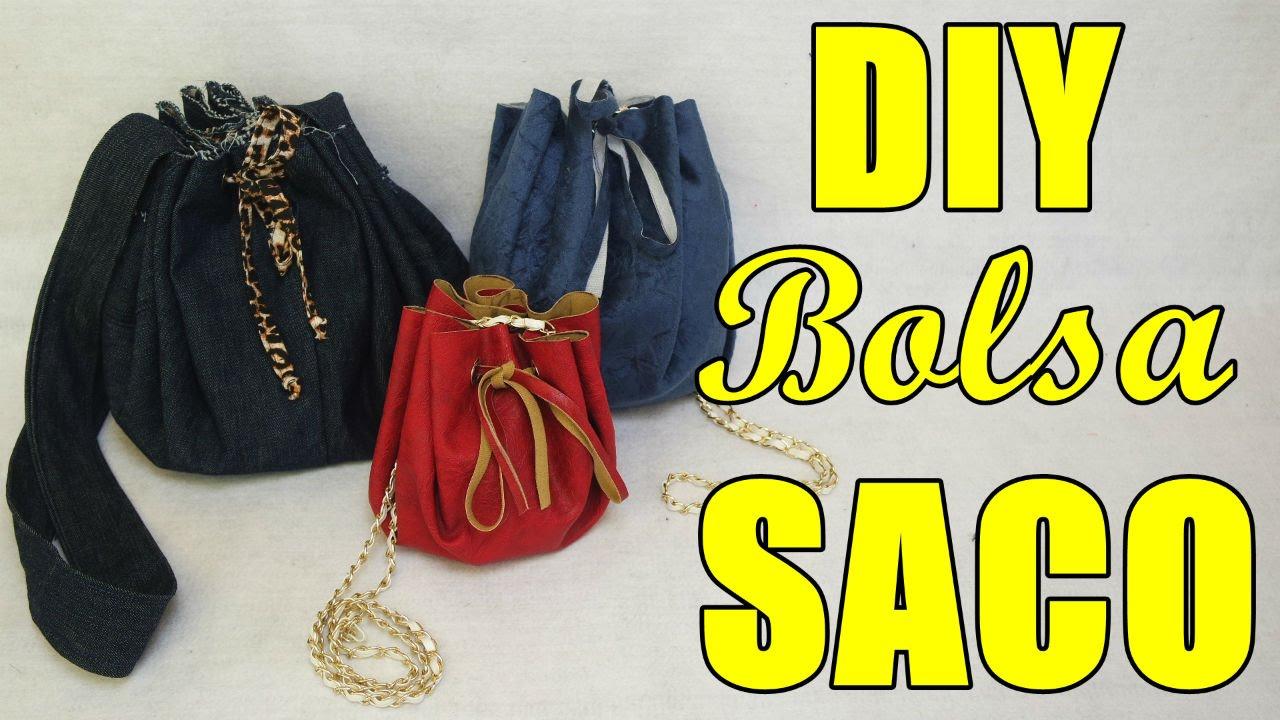 5052a77254dfb Como fazer Bolsa Saco com sobras de jeans - Especial  02 - YouTube