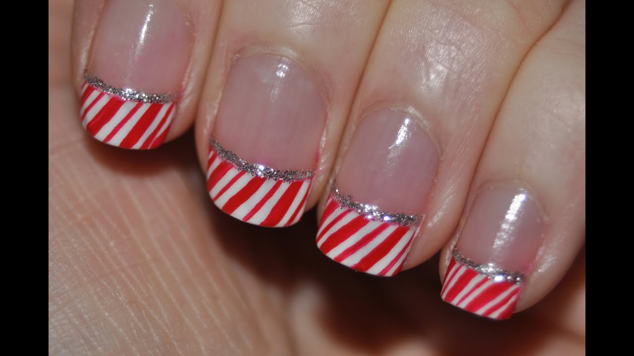 Candy cane nails holiday french tips nail art youtube prinsesfo Choice Image