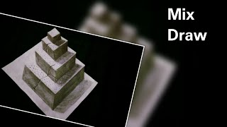 How to make a 3D concrete pyramid | Pencil 3D drawing | 3D paper drawing | 3D drawing | mixdraw
