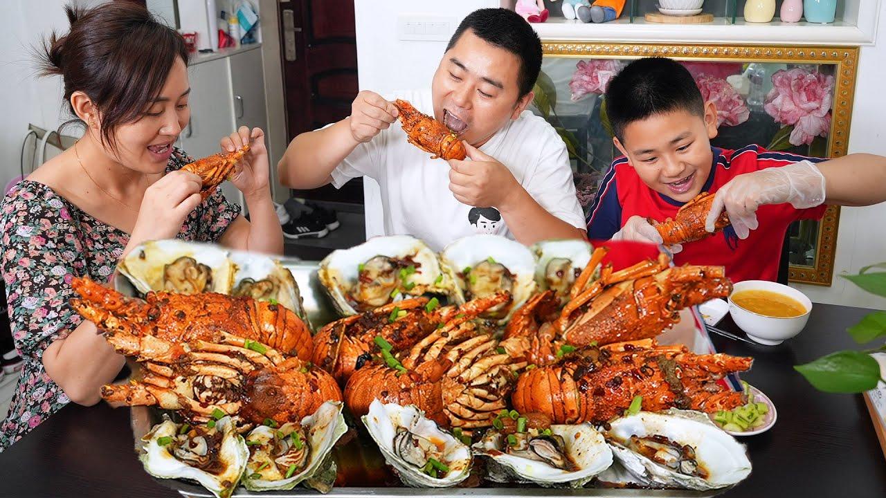 【超小厨】6只小青龙10只生蚝,麻辣大龙虾煮生蚝,海鲜小咖豪横一把,管它搓衣板还是榴莲!