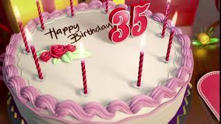 Футаж торт со свечами на День рождения: 35 лет