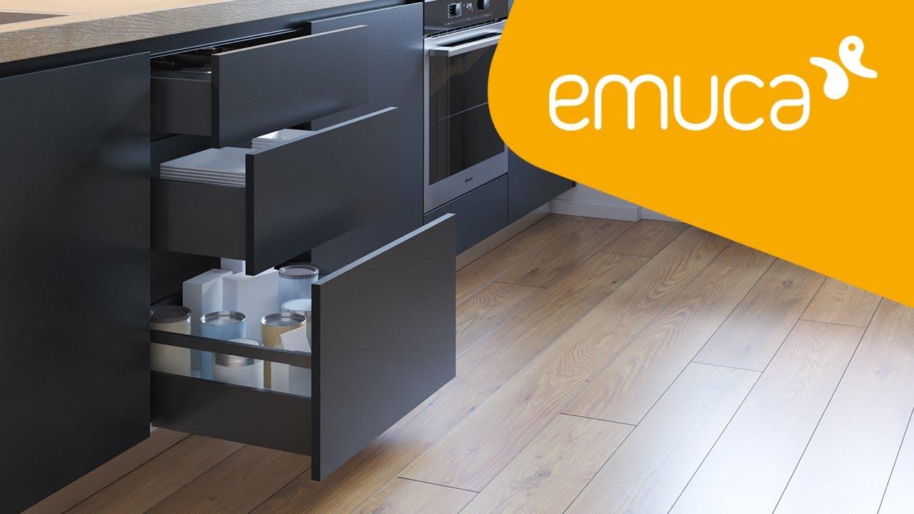 Kit syst/ème tiroir pour cuisine ou salle de bain avec coulisses /à extraction total et fermeture amortie Emuca hauteur 138mm et profondeur 300mm Gris anthracite