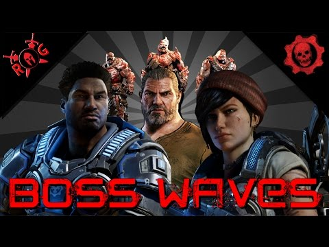 GEARS OF WAR 4 - ALL BOSS WAVES - THREE PLAYER HORDE ON FORGE