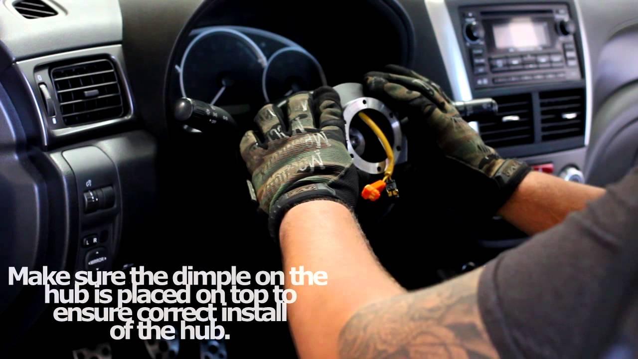 Nrg Subaru Hub Steering Wheel Install Srk 105h Youtube 2000 Impreza Horn Wiring
