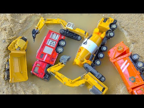 Learn Toys with Dump Truck Excavator, Fire Trucks and Cement Mixer Construction Vehicles for Kids