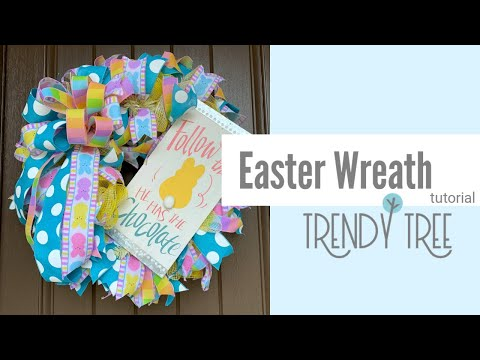 2020 Easter Wreath Tutorial Fabric Mesh