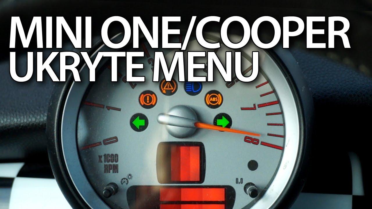 Mini One Cooper Hatch Ukryte Menu Zegarów Serwisowy Tryb Testowy