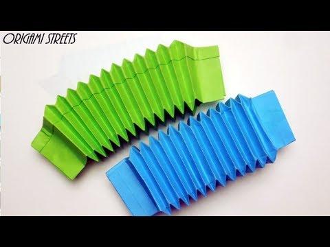 Cara Membuat Accordion Dari Kertas. Origami Mainan Akordeon.
