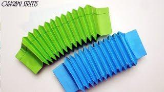 Как сделать гармошку из бумаги. Оригами игрушка гармошка.