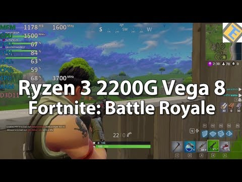 Ryzen 3 2200G Review Fortnite: Battle Royale GPU@1500Mhz. Gameplay Benchmark. Vega 8 iGPU
