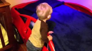 Jack Sees His Racecar Bed For The First Time