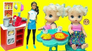 Baby Alive Eats Play Doh Food with Chef Barbie Doll + Change Diaper - Kids Toy Video