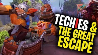 Techies and The Great Escape - DotA 2 Funny Moments
