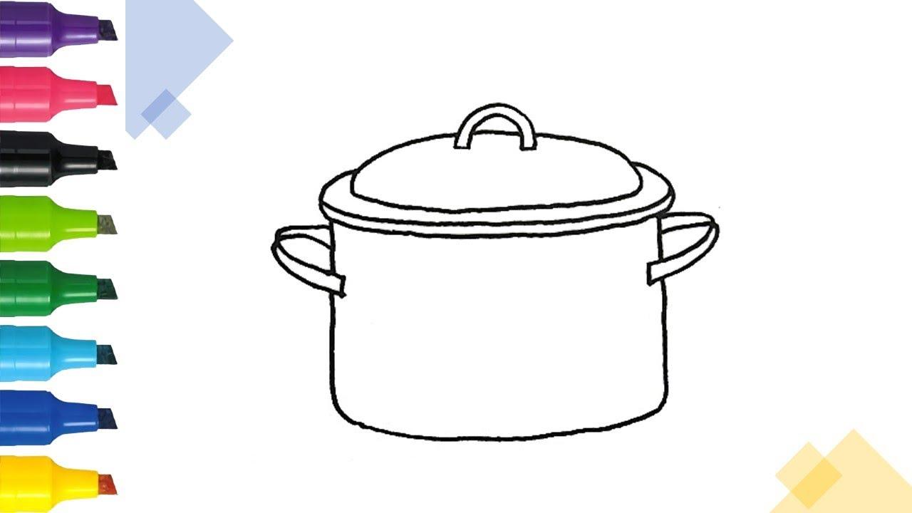 Hướng dẫn vẽ cái xoong,cái nồi đơn giản | Draw and coloring a cooking pot | Drawing Tutorias | Tổng hợp các tài liệu liên quan đến vẽ cái nồi chi tiết nhất