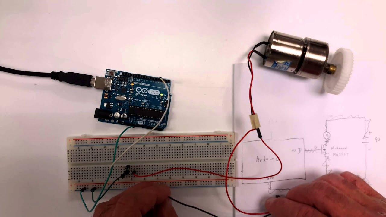 Arduino motor interfacing using mosfet and pwm youtube for Arduino nano motor control