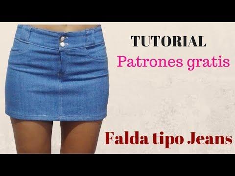 Diy Cómo Hacer Una Falda Jeans Corte Y Confección Youtube