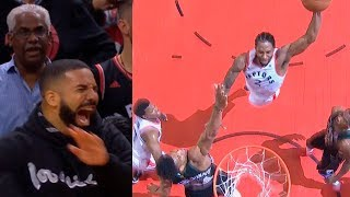 Kawhi Leonard shocks entire crowd & Drake with powerful dunk on Giannis Antetokounmpo